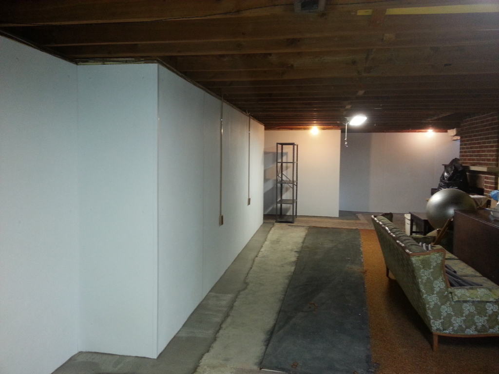Waterproofing a basement from the inside with waterproof wall panels